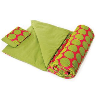 Wildkin Big Dot Pink & Green Plush Sleeping Bag   Kids Sleeping Bags