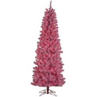 Pre lit Pink Light 7.5 ft. Pencil Pine Pink Christmas Tree   Artificial Christmas Trees