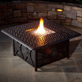 Alfresco Home Ramblas 48 in. Square Gas Fire Pit Chat Table with Firebead Blue Luster Round Glass Beads   Fire Pits