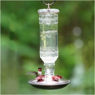 Clear Antique Bottle Hummingbird Feeder   Bird Feeders