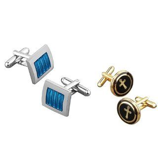 eForCity Blue/ Silver Square Cufflink with FREE Black/Copper Round with a Cross Cufflink Cuff Links Jewelry