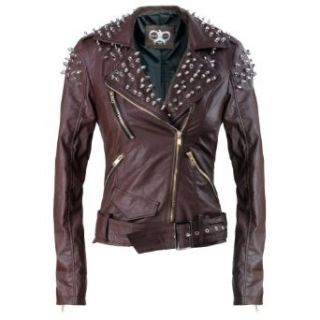 THOOO Women's Spike Stud Leather Slim Fit Motorcycle Jacket