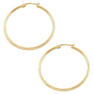 14 Karat Yellow Gold 2x38mm Diamond Cut Fancy Hoop Earrings Jewelry