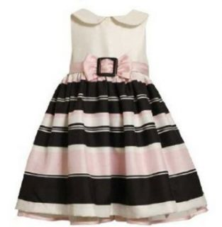 Bonnie Jean Girls 7 16 Ivory Black Pink Stripe Buckle Shantung Dress, 12 Clothing