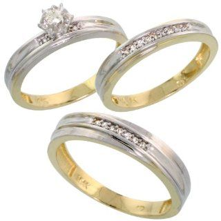 10k Yellow Gold Diamond Trio Wedding Ring Set His 5mm & Hers 3.5mm, Men's Size 8 to 14 Jewelry