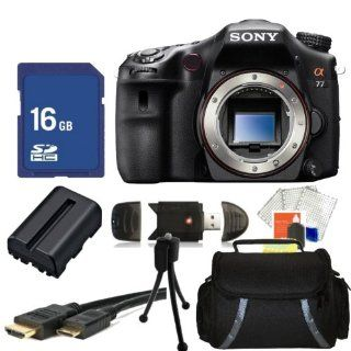 Sony Alpha SLT A77 Digital SLR Camera Kit. Includes Sony A77 DSLR (Body Only), Extended Life Replacement Battery, 16GB Memory Card + REader, HDMI Cable, Table Top Tripod, Carrying Case & More SLT A77V  Camera & Photo