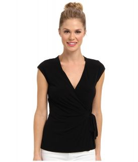Anne Klein Cap Sleeve Wrap Front Top Womens Short Sleeve Pullover (Black)