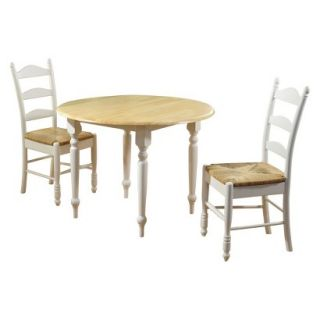 Dining Room Set Farmhouse Ladder Back Dining Table Set   White (Set of 3)