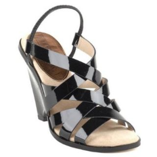 Ellen Tracy Raven Womens Open Toe Patent Leather Wedge Sandals Shoes Shoes