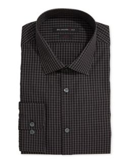 Long Sleeve Grid Check Poplin Dress Shirt, PM Black