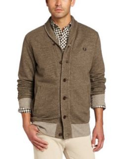 Fred Perry Men's Shawl Collar Button Through Sweater, Arbor Marl, X Small at  Men�s Clothing store