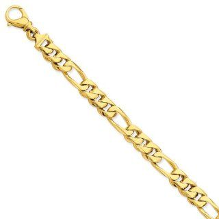 14k Yellow Gold 8in 9mm Hand Polished Figaro Men's Link Bracelet/Met Wt  27.78g Jewelry