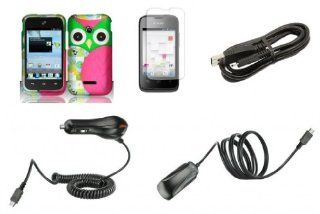 Huawei Inspira H867G / Glory H868C   Accessory Combo Kit   Hot Pink and Green Owl Design Shield Case + Atom LED Keychain Light + Screen Protector + Wall Charger + Car Charger + Micro USB Cable Cell Phones & Accessories