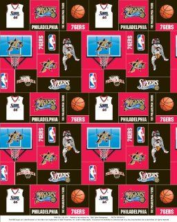Philadelphia 76ers NBA Basketball Sports Team Fleece Fabric Print s012 76ers