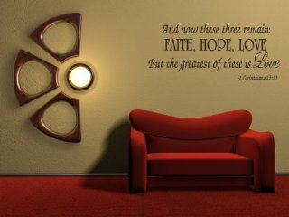 Faith Hope Love Corinthians Wall Quote Decal Scripture Bible Verse Quotes Vinyl   Wall Decor Stickers