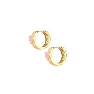 Children 14K Gold Huggie Hoop Earrings With Pink Enamel Heart Jewelry