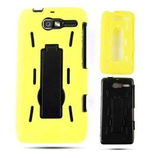 Motorola Droid RAZR M XT907 Jelly 04 Yellow Skin Black Snap Case Cover Protector Cell Phones & Accessories