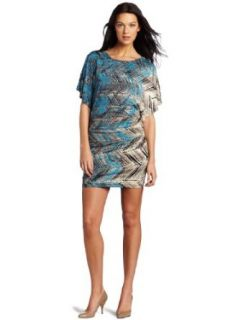 Nine West Dresses Women's Chevron Scribble Printed Dress