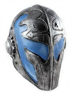 Army of Two Airsoft Mask A FMA Wire Mesh Templar Mask Nickel and Blue Stamped  Sports & Outdoors