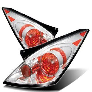 Nissan 350Z 02 03 04 05 Altezza Tail Lights + Hi Power White LED Backup Lights   Chrome (Pair) Automotive