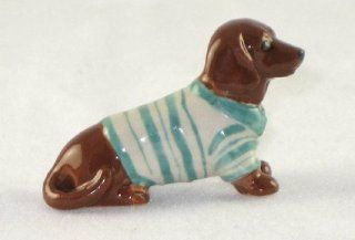 DACHSHUND Red Dog n Sea Green Striped Sweater SUPER MINIATURE New Porcelain Figurine KLIMA L886F   Collectible Figurines