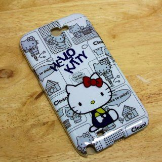 Hello Kitty Blue Hard Back Case Cover for Samsung Galaxy Note 2 Ii N7100 Cell Phones & Accessories