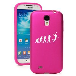 Hot Pink Samsung Galaxy S4 S IV i9500 Aluminum & Silicone Hard Back Case Cover KA265 Evolution Volleyball Cell Phones & Accessories