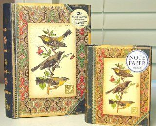 Book Box Gift Set Punch Studio Boutique Finch Bird Print 20 Note Cards & Memo Note Paper  Blank Note Card Sets