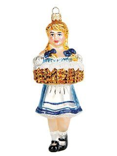 Bavarian Beer Waitress Girl Polish Mouth Blown Glass Christmas Ornament   Decorative Hanging Ornaments