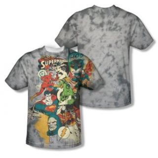 League    Justice League All Over Front/Back Print Sports Fabric T Shirt Clothing