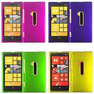 iFase Brand Nokia Lumia 920 Combo Rubber Purple + Rubber Rose Pink + Rubber Neon Green + Rubber Yellow Protective Case Faceplate Cover for Nokia Lumia 920 Cell Phones & Accessories