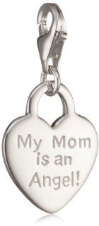 "VINANI brand Germany 925 Sterling Silver Charm Pendant Heart shiny Inscription ""My Mom is an Angel"" HHM Jewelry"