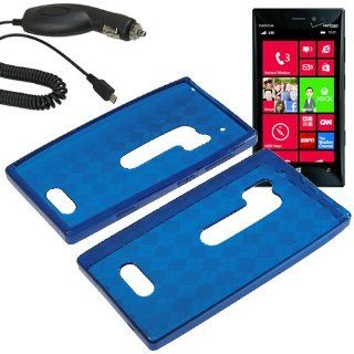 HR TPU Sleeve Gel Cover Skin Case for Verizon Nokia Lumia 928 + Car Charger Blue Checker Cell Phones & Accessories
