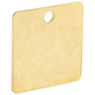 "Brady 23212 1 1/2"" Diameter B 907 Brass Square Blank Brass Valve Tags (Pack Of 25) Industrial Warning Signs"