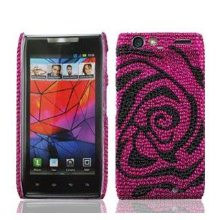 Motorola Droid RAZR XT912 XT 912 Cell Phone Full Crystals Diamonds Bling Protective Case Cover Hot Pink and Black Rose Flower Design Cell Phones & Accessories