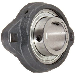 "Hub City FB160URX1 3/8 Flange Block Mounted Bearing, 2 Bolt, Light Duty, Relube, Setscrew Locking Collar, Narrow Inner Race, Ductile Housing, 1 3/8"" Bore, 1.44"" Length Through Bore, 3.937"" Mounting Hole Spacing"