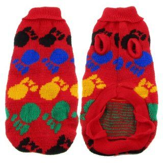 Warm Turtleneck Paw Pattern Knitted Chihuahua Dog Sweater Clothes Size L  Pet Shirts