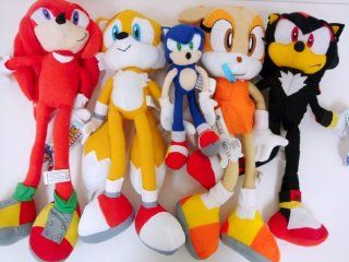 Sega Sonic The Hedgehog X Sonic Shadow Knuckles Tails and Cream Sonic 5 Plush Doll Stuffed Toy. Shadow, Tails, Knuckles, and Cream X  Large Plush Doll 19 inches, (Sonic is 9 inches only)   Sonic Doll Set, Very cute doll, kids love it. Toys & Games
