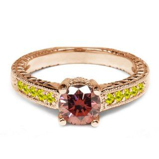 0.92 Ct Pink and Canary Diamond 925 Rose Gold Plated Silver Engagement Ring Jewelry