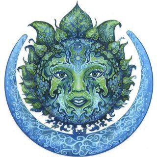 Green Moon Goddess   Automotive Decals