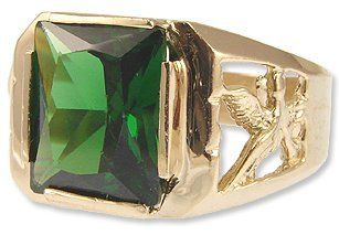 14k Yellow Gold, Masculine Classic Ring For Men Green Colored Center Lab Created Gems Eagle Design Sides Jewelry