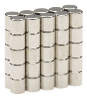 BYKES 50 Neodymium Super Strong Extremly Powerful Rare Earth Refrigerator Magnets 1/8 x 1/8 inch Cylinder N48 Industrial Rare Earth Magnets