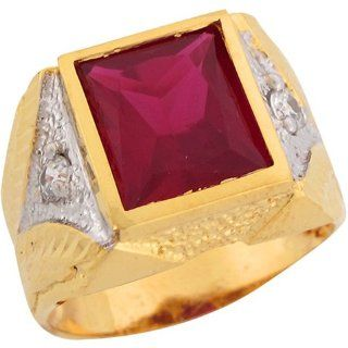 10k Real Two Tone Gold Rectangle Cut Synthetic Ruby Great Mens Ring Jewelry