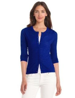 Evolution by Cyrus Women's 3/4 Sleeve Pointelle Crew Neck Cardigan, Ultra Marine, Small Cardigan Sweaters