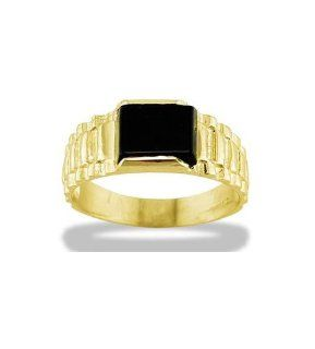 Mens Solid 14k Yellow Gold Black Onyx Ribbed Band Ring Jewelry