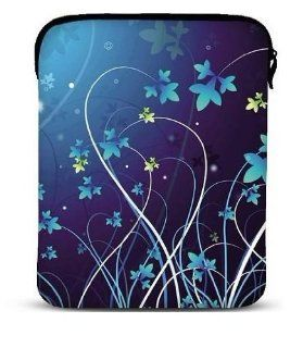 "BLUE FLOWER Soft Neoprene 8"" 9.7"" 10 inch Netbook Laptop Sleeve Slip Case Pouch Bag with strap fit for Apple iPad 2/ iPad 3 / the New ipad 4 / Kindle DX/HP TouchPad/Sony Tablet S S1/10.1"" Samsung Galaxy Tab/Le Pan TC 970/Coby Kyros MID9742 A"