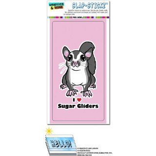 Sugar Glider I Love Heart   Pet Animal Cute On Pink SLAP STICKZ(TM) Automotive Car Window Locker Bumper Sticker Automotive