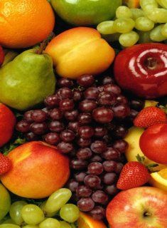 Rectangle Refrigerator Magnet   Bunch of Fruit   Grapes, Pear, Apple, Strawberry, Orange, Peach  Other Products