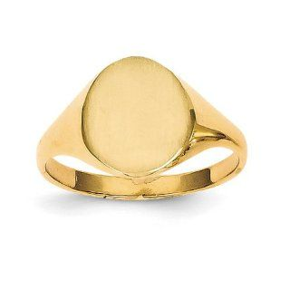 14k Yellow Gold Signet Ring. Gold Weight  2.67g. 10.8mm x 8.6mm face Jewelry
