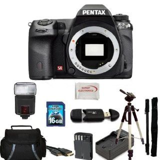 Pentax K 5 IIs Digital SLR Camera (Body Only) Kit. Includes 16GB Memory Card, High Speed Memory Card Reader, Extended Life Replacement Battery, Charger, Slave Flash, HDMI Cable, Tripod, Monopod, Carrying Case & SSE Microfiber Cleaning Cloth  Camera &